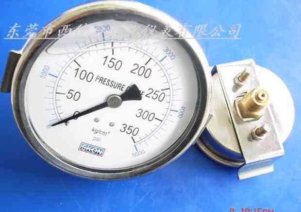 供应轴向带支架充油耐震压力表
